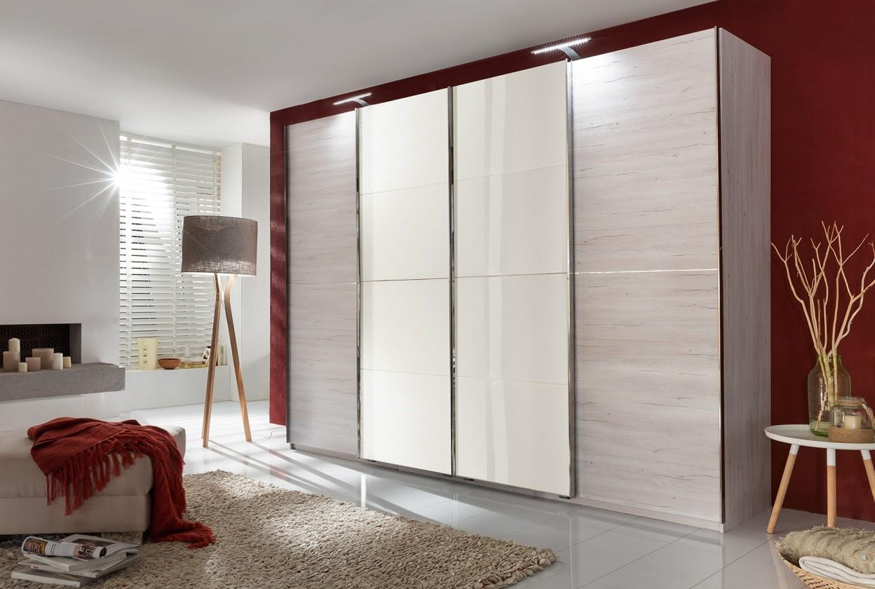 Bazar ložnice Brüssel - Skříň4, 313/210/65 (dub bílý/zrcadlo bílé)