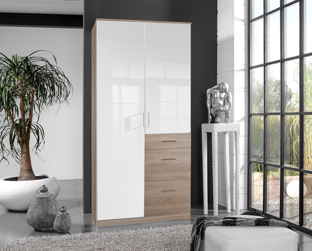Bazar ložnice Clack - Skříň, 2x dveře (dub, bílá)