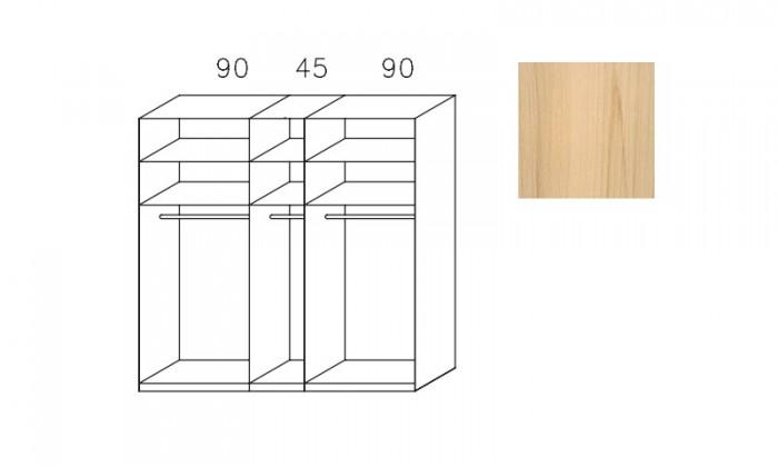 Bazar ložnice Imperial-šatní skříň 3 dveře(1xzrcadl.dveře),3montované police