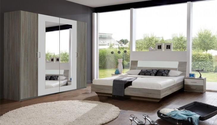 Bazar ložnice Jenny - Komplet, postel 180 cm (dub trufel, bílá)