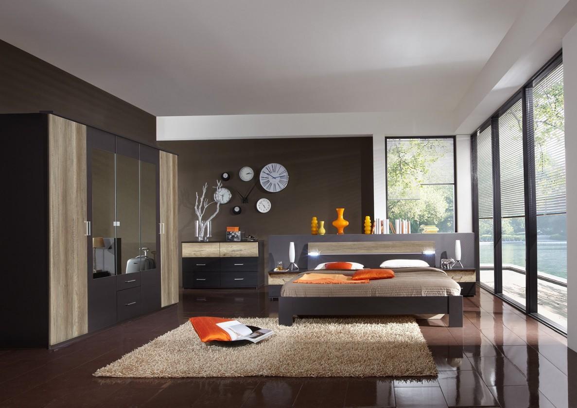 Bazar ložnice Madrid - Komplet velký, postel 180 cm (lava černá/divoký dub)