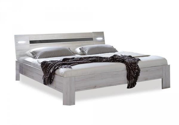 Bazar ložnice Nizza - postel 200x180 cm, s čelem (dub bílý+šedá vysoký lesk)