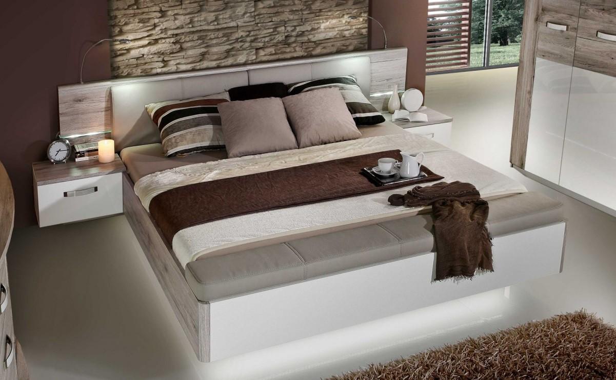 Bazar ložnice Rondino - Komplet, postel 180 cm (dub pískový, bílý lesk)