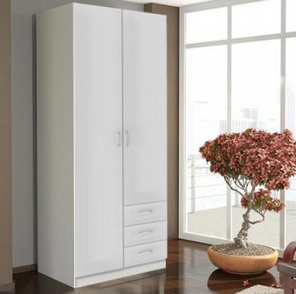 Bazar ložnice Space - 2 dveře (bílá, vysoký lesk)