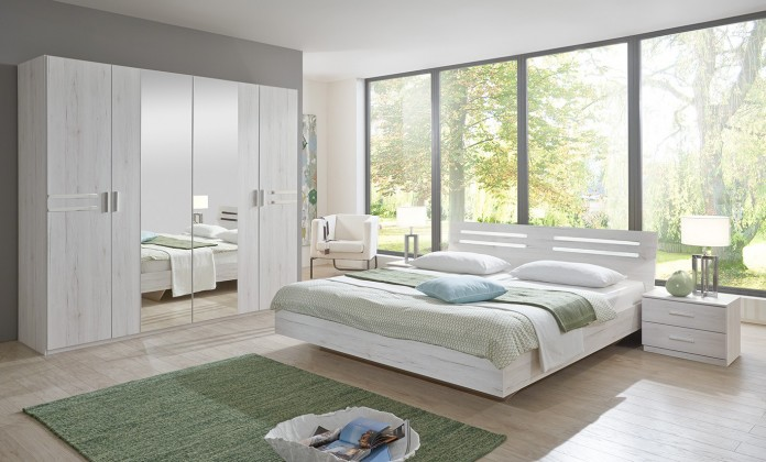 Bazar ložnice Susan - komplet, postel 180cm (bílý dub, chromové prvky)