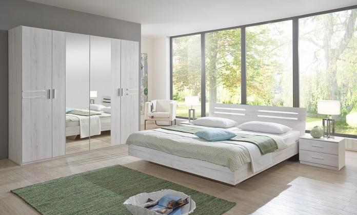 Bazar ložnice Susan - komplet velký, postel 160cm (bílý dub, chromové doplňky)