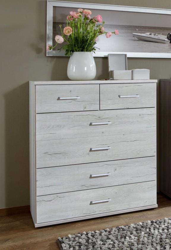 Bazar ložnice Sylt - Komoda 2, 6x zásuvka (dub bílý, šedá)
