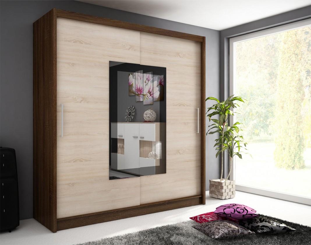Bazar ložnice Wiki 2 - Skříň 200 cm (dub sonoma / čokoládová)