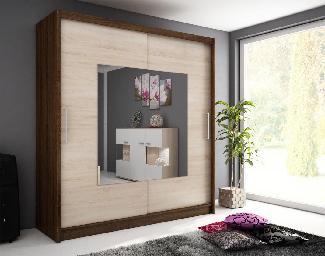 Bazar ložnice Wiki 9 - Skříň 200 cm (dub sonoma / čokoládová)