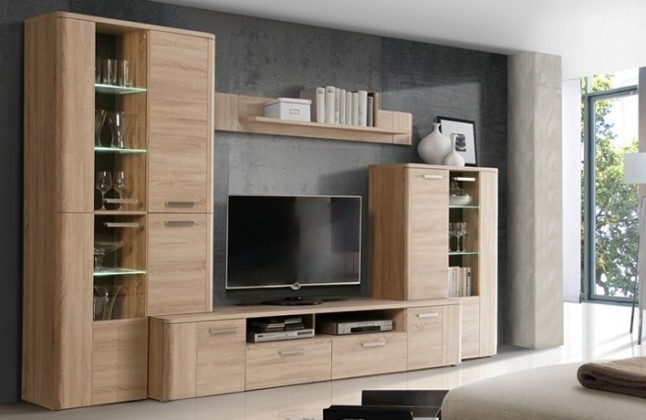 Bazar obývací pokoje Belmondo BLDM01LB - Obývací stěna (dub sonoma/wenge)