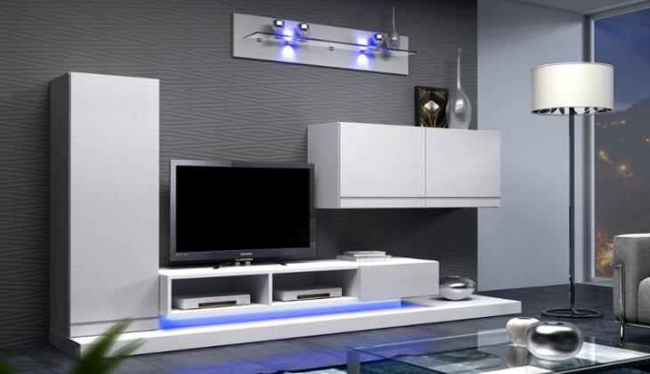 Bazar obývací pokoje Blanca - Obývací stěna (bílá)