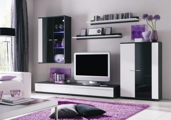 Bazar obývací pokoje Cannes - obývací stěna (černá/bílá/černá)