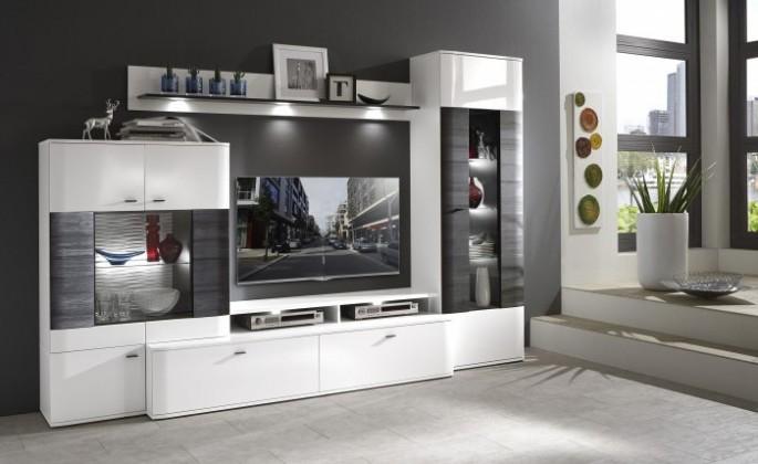 Bazar obývací pokoje Denver - Kombi 109 (bílá arctic LDTD / černá strukturovaná)