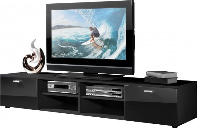 Bazar obývací pokoje Easy - TV stolek, 3666-83 (černá/černá vysoký lesk)