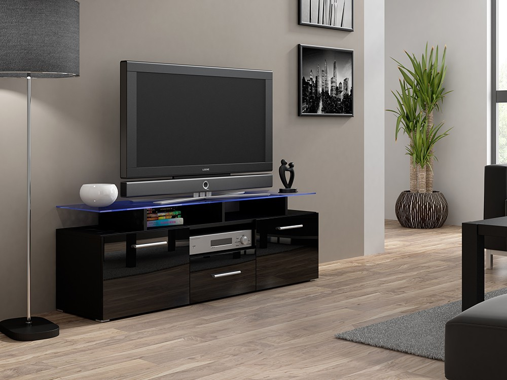 Bazar obývací pokoje Evora mini - TV stolek (černá/černá lesk)