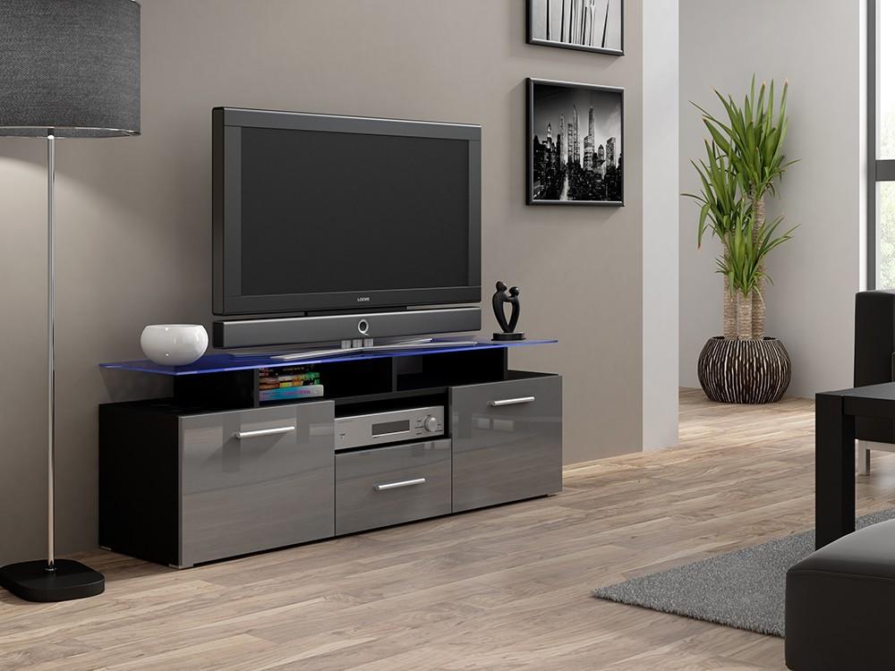 Bazar obývací pokoje Evora mini - TV stolek (šedá lesk, korpus/černá mat)