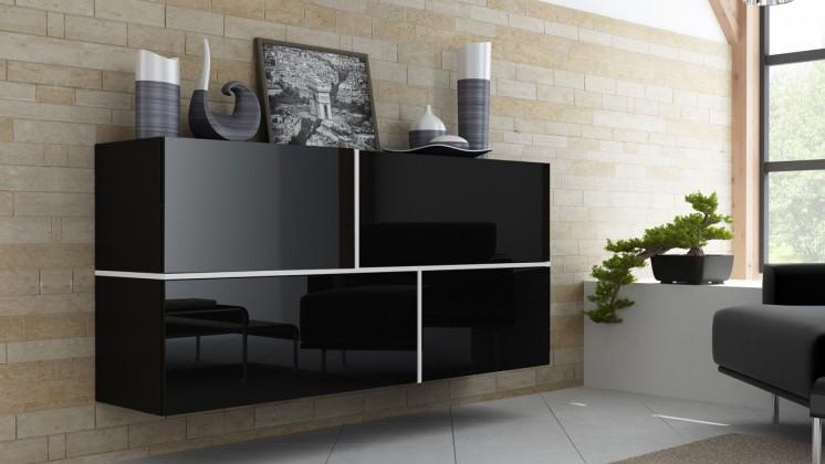 Bazar obývací pokoje Goya (Černá/černá lesk/bílá lesk)