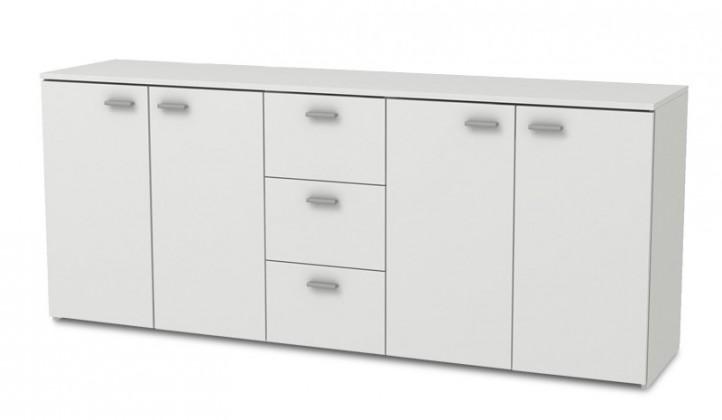 Bazar obývací pokoje Hugo - Komoda, 4x dveře, 3x zásuvka (bílá)