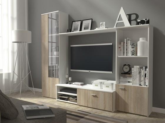 Bazar obývací pokoje Hugo - Obývací stěna (bílá/dub sonoma)