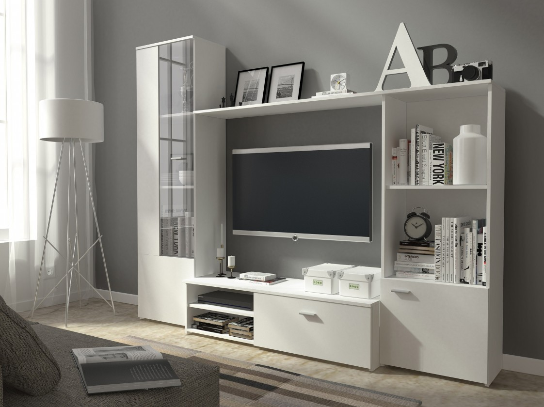 Bazar obývací pokoje Hugo - Obývací stěna (bílá)