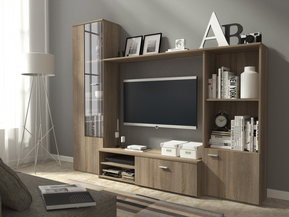 Bazar obývací pokoje Hugo - Obývací stěna (dub truffel)