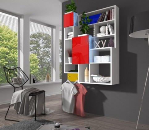 Bazar obývací pokoje Jazz - regál závěsný (bílá/červená)