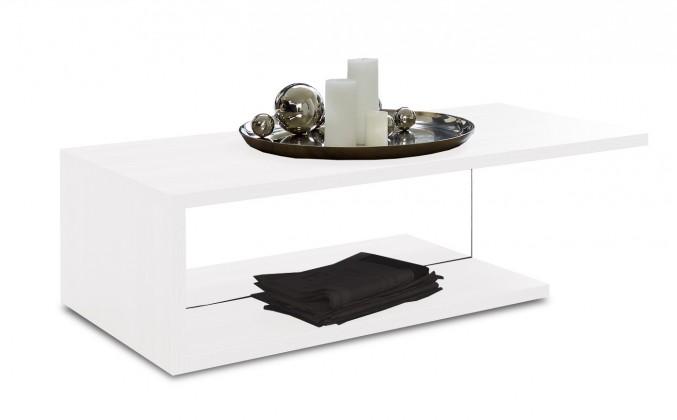 Bazar obývací pokoje Linea - Konferenční stolek (bílá s čirým sklem)