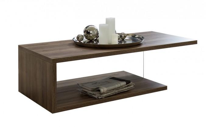 Bazar obývací pokoje Linea - Konferenční stolek (dub tmavý HN s čirým sklem)