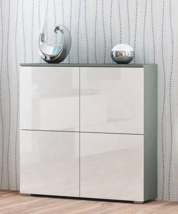 Bazar obývací pokoje Livo - Komoda 100 (šedá mat/bílá lesk)