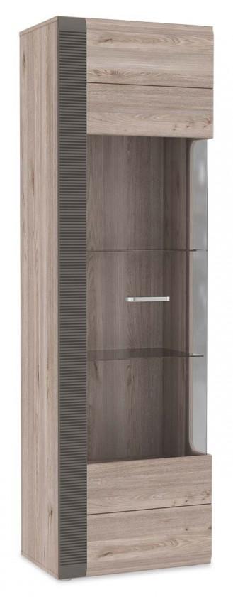 Bazar obývací pokoje Locarno - Vitrína levá, LCRV711L-N92 (dub nelson/šedá mat)