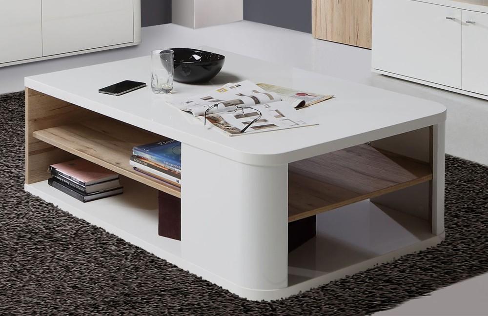 Bazar obývací pokoje Marlow - Konferenční stolek (bílá/bílá lesk/dub)