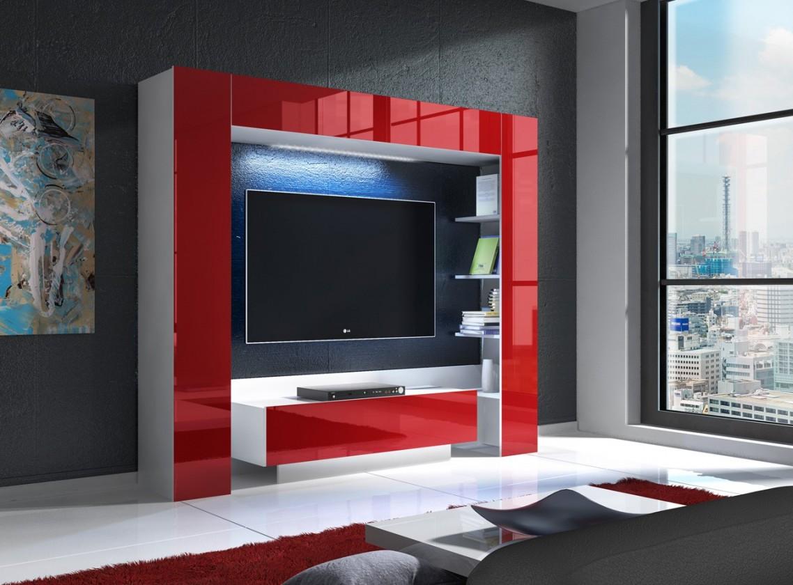 Bazar obývací pokoje Mezek - obývací stěna (bílá/červená)