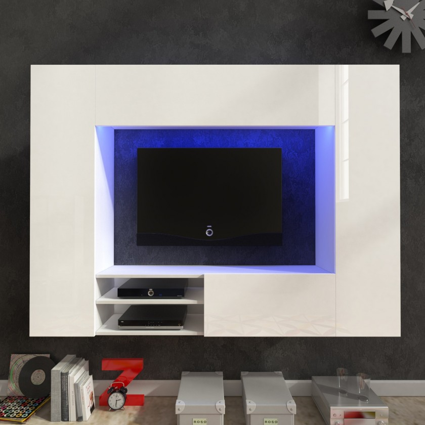 Bazar obývací pokoje Net - Obývací stěna (bílá/bílá lesk)