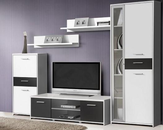 Bazar obývací pokoje Pablo - Obývací stěna PBLM01 (bílá/černá)