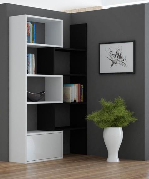 Bazar obývací pokoje Paco 1 - Regál (bílá/černá)