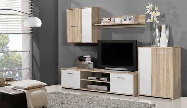 Bazar obývací pokoje Paco PCOM02-Q45F(dub sonoma/bílá)