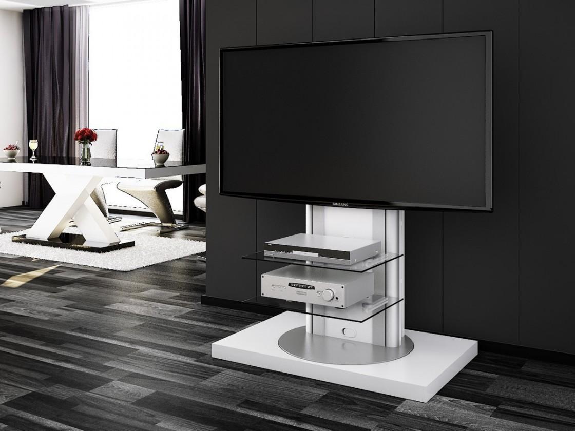 Bazar obývací pokoje Roma - TV stolek s držákem (bílá vysoký lesk)