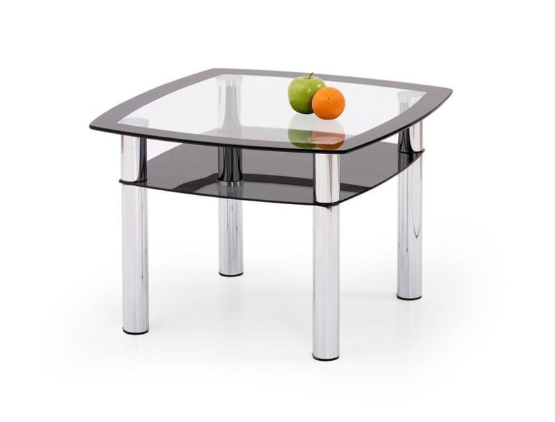 Bazar obývací pokoje Salome Kwadrat - Konferenční stolek (sklo čiré, černá, chrom)