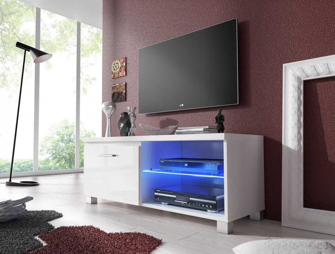 Bazar obývací pokoje TV 1 - TV stolek (bílá/bílá)