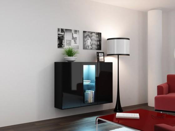 Bazar obývací pokoje Vigo (korpus černá mat/přední plochy černá VL)