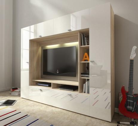 Bazar obývací pokoje Vigo - Obývací stěna (dub sonoma/bílá lesk)