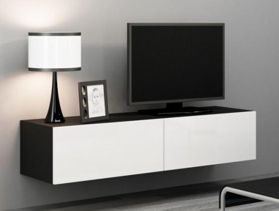 Bazar obývací pokoje Vigo - TV komoda 140 (černá mat/bílá VL)