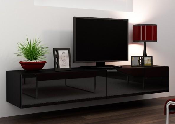 Bazar obývací pokoje Vigo - TV komoda 180 (černá mat/černá VL)