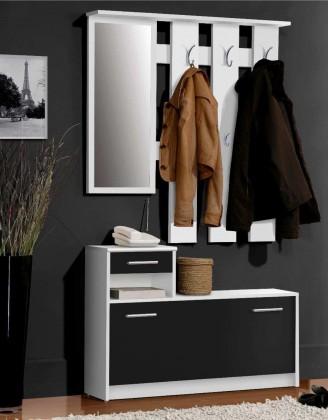 Bazar předsíně FOXD011 - Předsíňová stěna (černá mat/bílá mat)