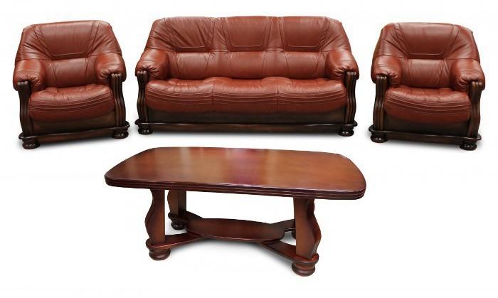 Bazar sedací soupravy Diplomat - Trojsedák, 2x křeslo, stůl (kůže A-4/dřevo OL-4)