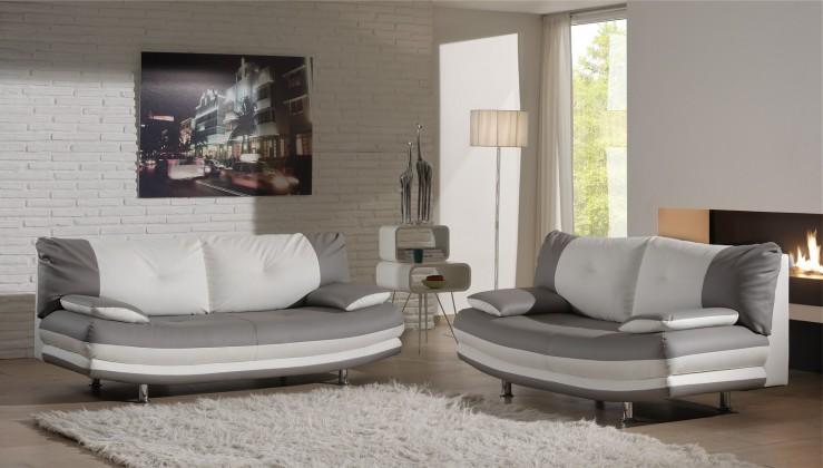 Bazar sedací soupravy Sedačka 3+2 Maliboo (hanne light grey/white, šedá/bílá,eko kůže)