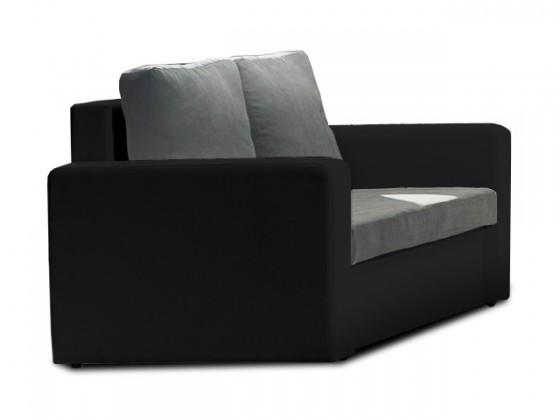Bazar sedací soupravy Venus - Dvojsedák (microfiber dark grey, sedák/pvc black,korpus)