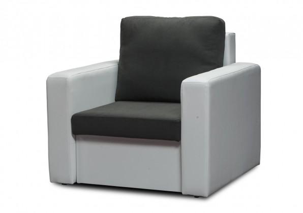 Bazar sedací soupravy Venus-křeslo (microfiber dark grey-sedák/pvc white korpus)