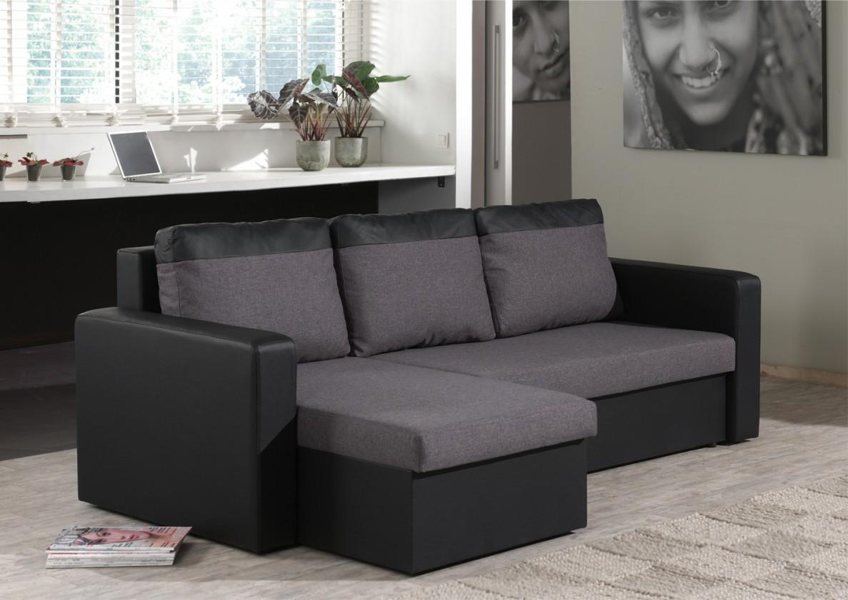Bazar sedací soupravy Venus-univerzální (microfiber dark grey-sedák/pvc black-korpus)