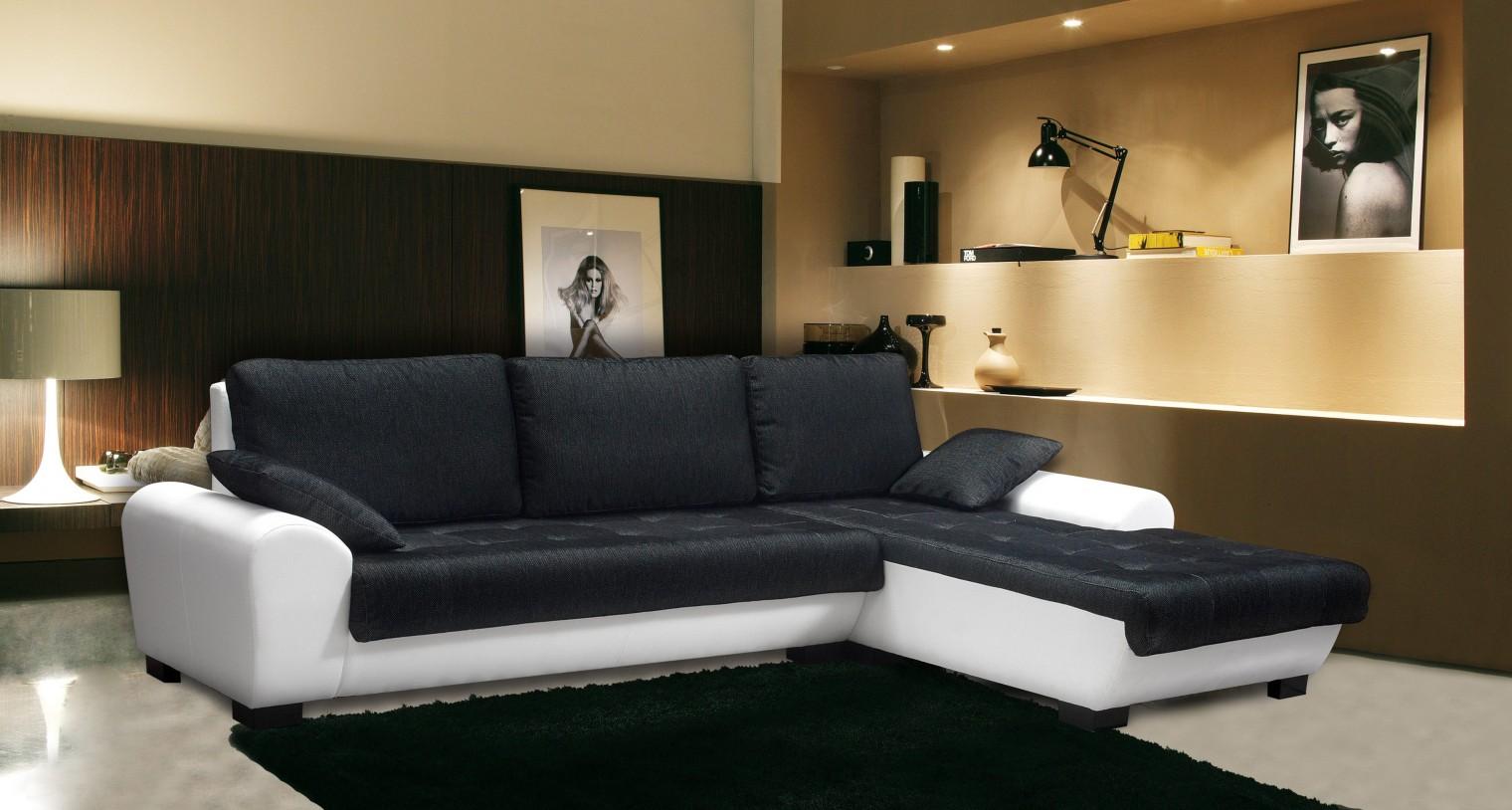 Bazar sedací soupravy Yvette - Pravý roh (savana black pvc white)